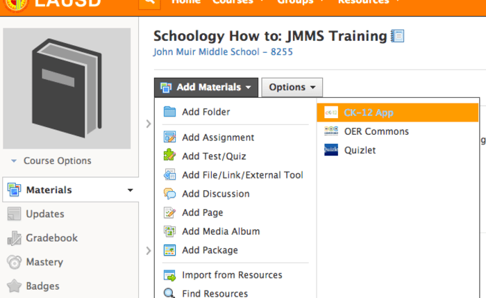 Science eTextbooks CK-12 are available to add on Schoology